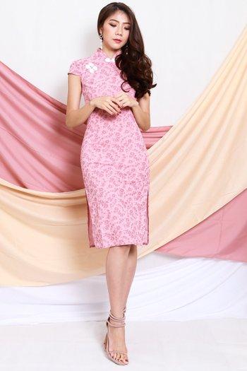 Pink Floral Midi Cheongsam Dress