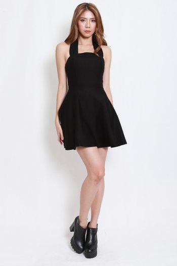 *Premium* Bow Halter Skater Dress (Black)