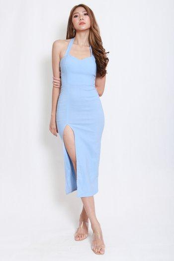 Sweetheart Halter Midi Dress (Baby Blue)