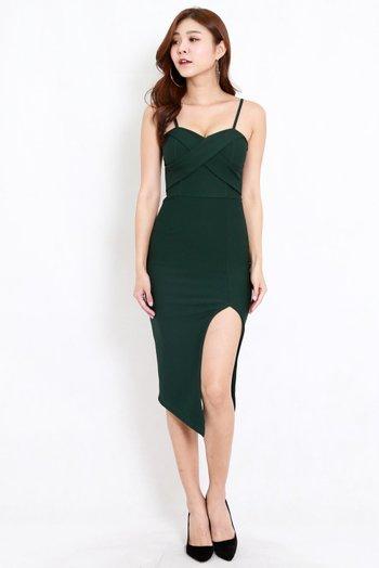 *Premium* Crossover Slit Spag Dress (Forest Green)