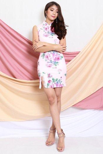 Lace Slit Cheongsam Dress (Pink Floral)