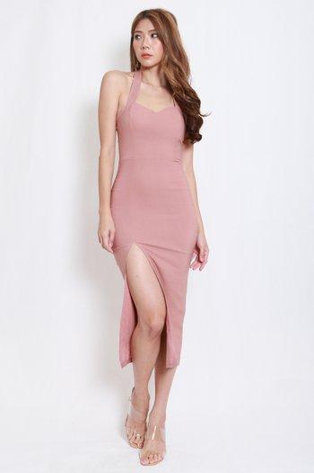 Sweetheart Halter Midi Dress (Tan-Nude)
