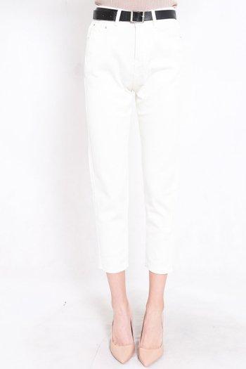 Belted Denim Jeans (White)