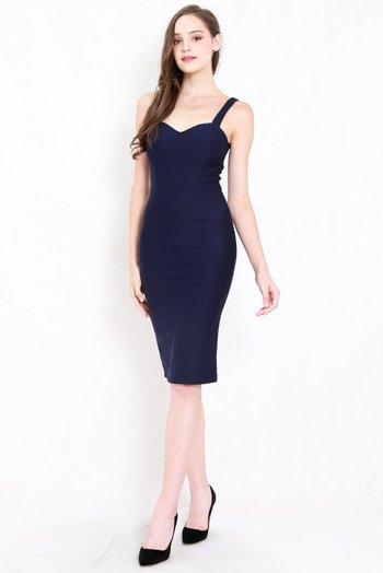 *Premium* Classic Sweetheart Midi Dress (Navy)