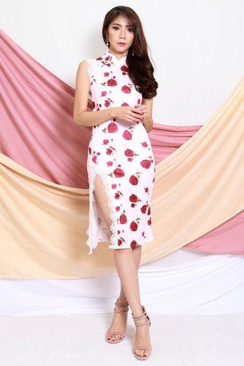 Roses Lace Slit Cheongsam Dress