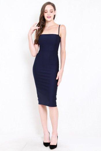 *Premium* Classic Midi Spag Dress (Navy)