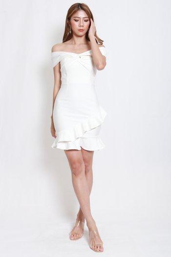 *Premium* Twist Knot Mermaid Offsie Dress (White)
