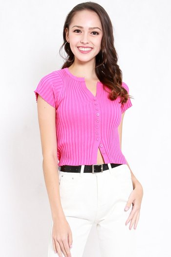 Buttons Knit Tee (Barbie Pink)