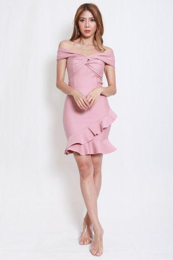*Premium* Twist Knot Mermaid Offsie Dress (Light Pink)