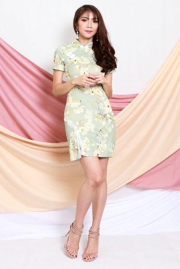 Green Floral Lace Slit Cheongsam Dress