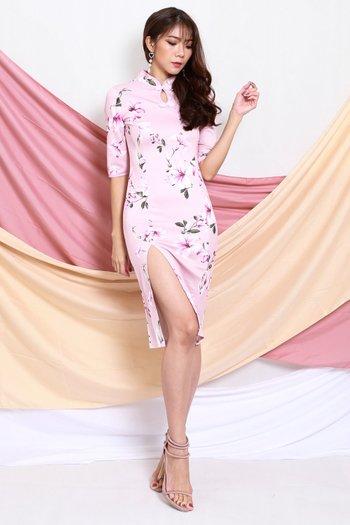 Pink Sakura Slit Cheongsam Dress
