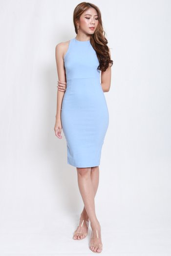 High Neck Cross Back Midi Dress (Baby Blue)