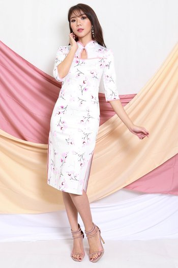 White Outline Floral Cheongsam Dress
