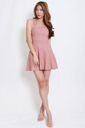 Bow Halter Skater Dress (Tan-Nude)