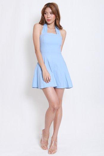 Bow Halter Skater Dress (Baby Blue)