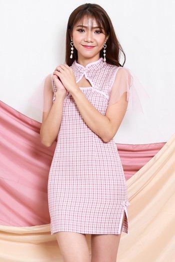 Mesh Sleeve Checkered Cheongsam Dress