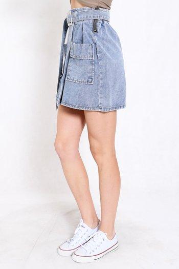 Buckle Denim Skirt (Blue)