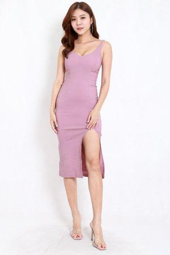 V Neck Slit Midi Dress (Lavender)