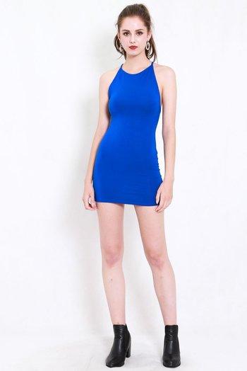 Criss Cross Tie Back Dress (Blue)