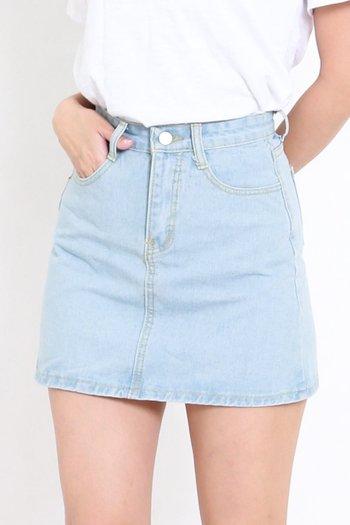 Basic Denim Skirt (Denim Blue)