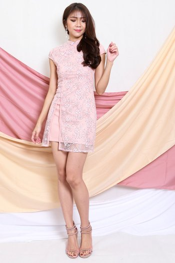 Floral Lace Overlay Cheongsam Dress (Pink)