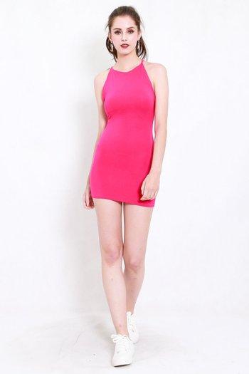 Criss Cross Tie Back Dress (Barbie Pink)