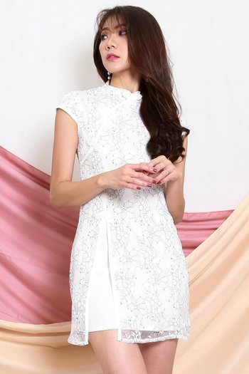 Floral Lace Overlay Cheongsam Dress (White)