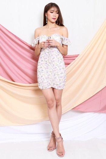 Floral Chiffon Ruch Dress