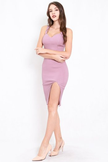 Classic Sweetheart Slit Midi Dress (Lavender)