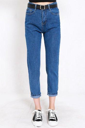 Belted Denim Jeans (Dark Blue)