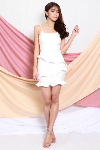 *Premium* Ruffle Tiered Dress (White)