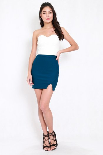 *Premium* Slit Bandage Skirt (Teal)