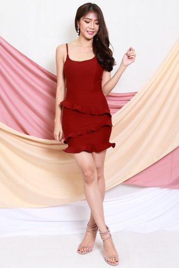 *Premium* Ruffle Tiered Dress (Maroon)