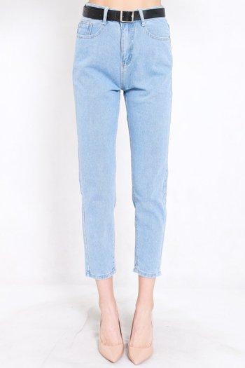 Belted Denim Jeans (Light Blue)