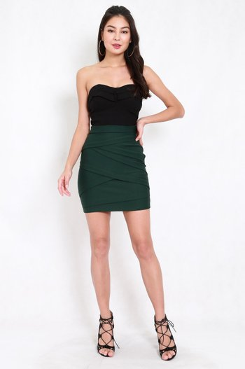 *Premium* Criss Cross Bandage Skirt (Forest Green)