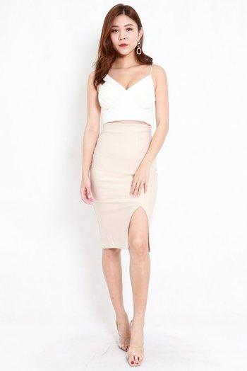 *Premium* Pencil Slit Midi Skirt (Ivory)
