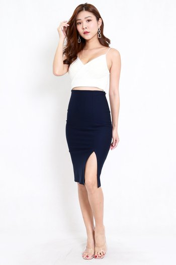 *Premium* Pencil Slit Midi Skirt (Navy)