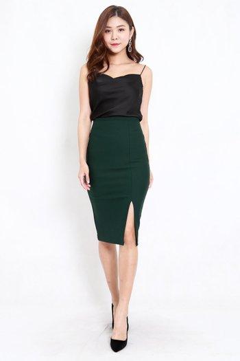 *Premium* Pencil Slit Midi Skirt (Forest-Green)