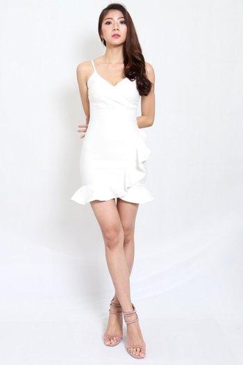 *Premium* Overlap Ruffle Dress (White)