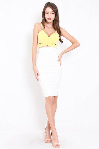 *Premium* Pencil Midi Skirt (White)