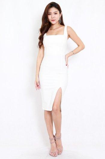 *Premium* Square Neck Slit Midi Dress (White)
