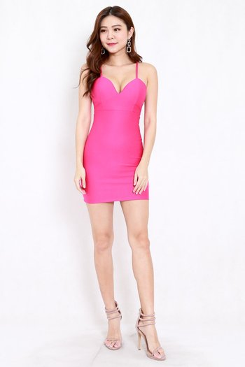 *Premium* Cross Back Sweetheart Dress (Hot Pink)