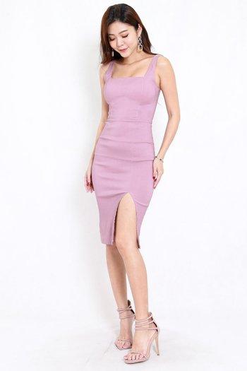 Square Neck Slit Midi Dress (Lavender)