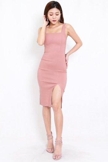 Square Neck Slit Midi Dress (Tan-Nude)