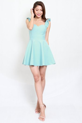 *Premium* Ruffle Sleeve Skater Dress (Tiffany Blue)