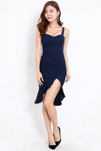 Sweetheart Ruffle Slit Dress (Navy)