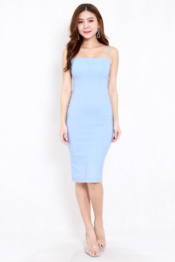 Classic Midi Spag Dress (Baby Blue)