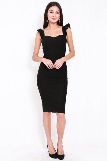 *Premium* Ruffle Sleeve Midi Dress (Black)