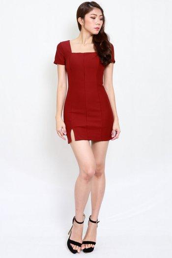 *Premium* Square Neck Slit Mini Dress (Maroon)