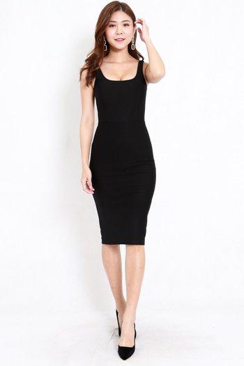 *Premium* Scoop Neck Midi Dress (Black)